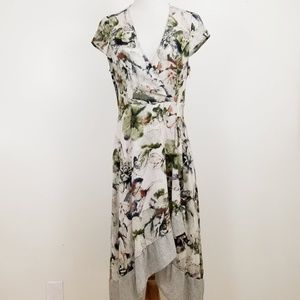 Mystree M Dress Floral Faux Wrap V-Neck Ruffle
